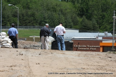 Clarksville Gas and Water Personnel survey the damage on May 8th 2010