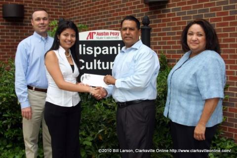 Victor Felts, Myra DeCaba, Pastor Tommy Vallejos, and Elizabeth Valdez-Adamski at the scholarship presentation