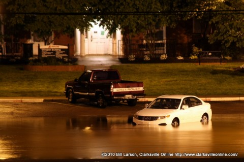 A flooded car at APSU