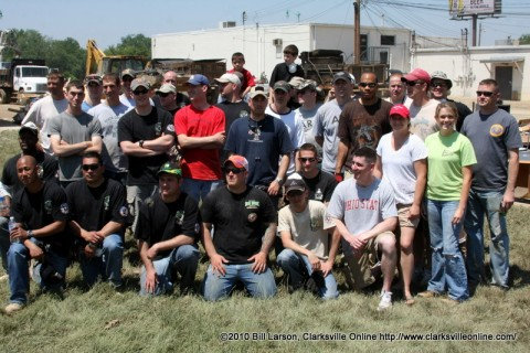The group of soldiers who helped clean out Mary's Music and BFS Insurance