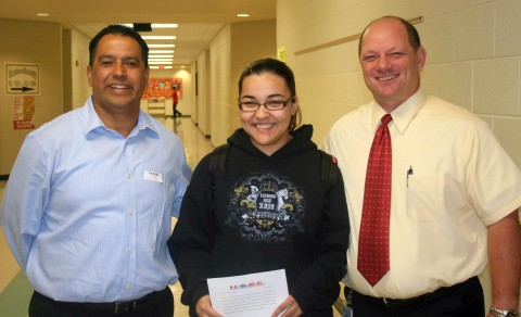 Pastor Tommy Vallejos (H.O.P.E.Director), Kenwood High School Student Katie Segura, Kenwood High School Principal Hal Bedell