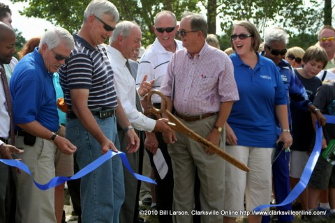 With the cutting of the Ribbon, the North Riverwalk Extension is officially opened
