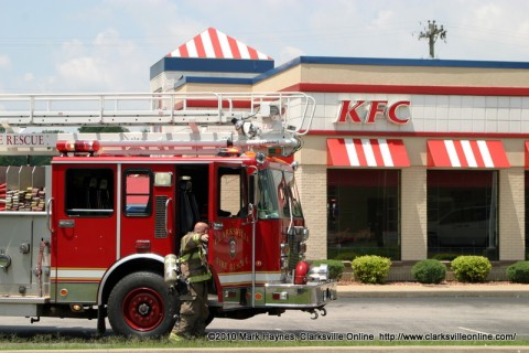 Clarksville Fire Rescue responding to a report of a structure fire at KFC.