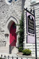The famous Red Door at Trinity Episcopal Church