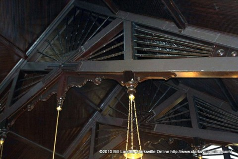 The intricate roof trusses at St. Peter AME Church