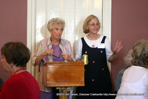 Montgomery County Historian Eleanor Williams being introduced by Ellen Kanervo at the L&N Train Station