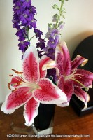 A flower arrangement brightens up a mantle