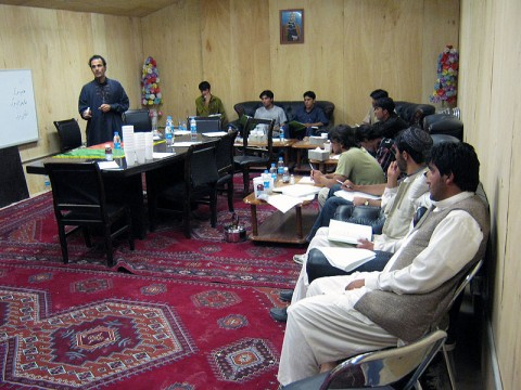 Disc Jockeys from Paktika Province gather at Forward Operating Base Sharana July 12th and 13th to discuss broadcast reporting techniques during a two-day journalism workshop hosted by the 3rd Battalion, 187th Infantry Regiment.