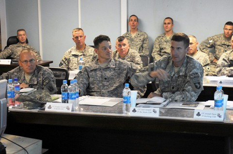 Lt. Col. Joel B. Vowell discusses several issues with the battle space leaders during the commanders' conference at Forward Operating Base Fenty in eastern Afghanistan's Nangarhar province July 3rd. The Task Force commander, Col. Andrew P. Poppas, held the conference to discuss progress, issues and future missions within the area of operations. (Photo by U.S. Army Spc. Richard Daniels Jr., Task Force Bastogne Public Affairs)