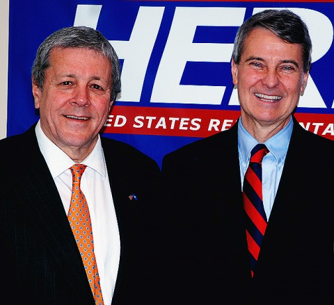Congressman John Tanner (left), a founding member of the fiscally conservative Blue Dog Coalition, with congressional candidate Roy Herron. Tanner says Herron received the endorsement of the Blue Dogs for his willingness to stand up to leadership of both political parties in the interest of true fiscal responsibility.