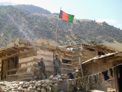 BARG-E MATAL, Afghanistan – ANA Soldiers stand guard after reclaiming Barg-e Matal on July 26th. (Photo courtesy U.S. Army)