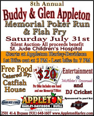 8th Annual Buddy and Glen Appleton Memorial Poker Run and Fish Fry