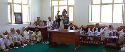 Kunar Deputy Sub-Governor Pacha adamantly addresses the elders of the Marawara district about the importance of following the Afghan constitution. The Kunar Provincial Reconstruction Team tutored the elders about Afghan law and government. (Photo by U.S. Air Force 1st Lt. Amy Abbott, Kunar Provincial Reconstruction Team)