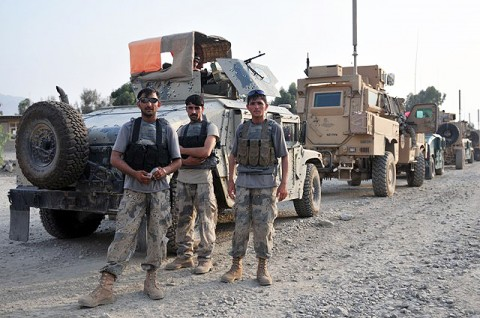Afghan Border Police prepare to depart Forward Operating Base Joyce as part of Operation Strong Eagle II July 18th.  (Photo by U.S. Army Spc. Albert L. Kelley, 300th Mobile Public Affairs Detachment)