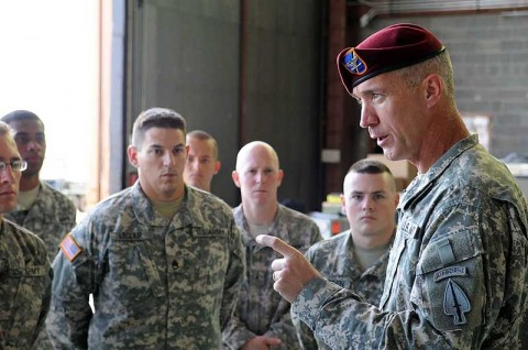 The 160th Special Operations Aviation Regiment (Airborne) Commander, Col. John Thompson, talks with the Soldiers of Quick Reaction Capability 2, the unmanned aerial systems company, following a patch ceremony at Fort Huachuca, AZ, July 19th, authorizing the unit to wear the USASOC shoulder patch. (Photo courtesy of the 160th Special Operations Aviation Regiment (Airborne))