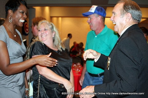 Sheriff Norman Lewis being congratulated by his supporters at the Riverview in Thursday evening