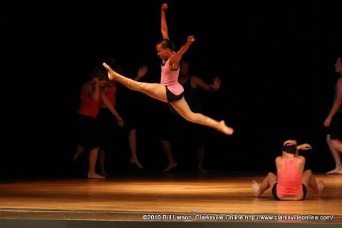 A dancer leaps for the sky during the Finale of the Summer Dance Concert at APSU