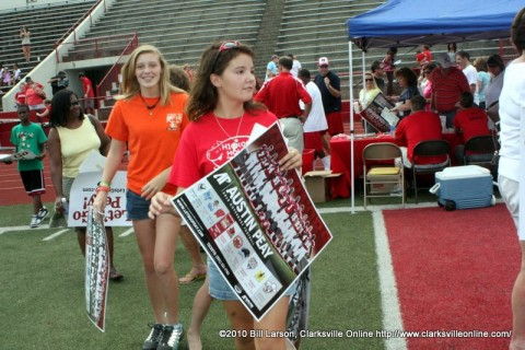 Fans of APSU Football stream onto the field at Governor's Stadium as part of the 2010 Fan Appreciation Day
