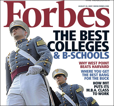 Forbes issue Featuring West Point as the #1 educational instutition in the United States