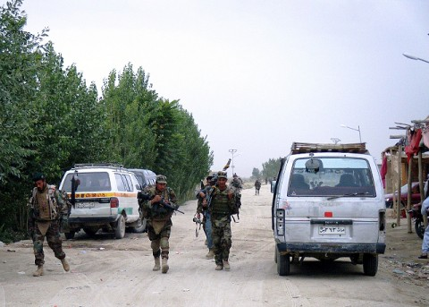 ANSF soldiers patrol local communities in Ghazni Province during an air assault operation in support of Operation Shamshir, August 3rd. (U.S. Army Courtesy Photo)