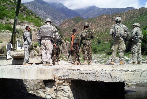 The 2nd Brigade, 201st Corps Afghan National Army Engineers inspect the area with Company G, 2nd Battalion, 327th Infantry Regiment, Task Force No Slack during Dab Bridge reconstruction here August 6th-8th. The bridge was damaged during a flood and limited military and civilian transportation. (Photo by U.S. Army Staff Sgt. Thomas White, Task Force Bastogne)