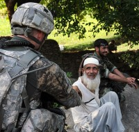 A leader from the eastern Afghanistan village of Kuz Kormal shakes hands with U.S. Army 2nd Lt. Joseph B. Pitt of Atlanta, GA. (Photo by U.S. Army Staff Sgt. Gary A. Witte, 300th Mobile Public Affairs Detachment)