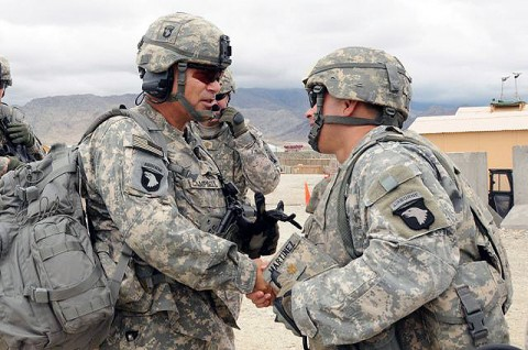 U.S. Army Maj. Gen. John Campbell, Combined Joint Task Force-101 commander, is greeted by U.S. Army Maj. Carlos Martinez of Walla Walla, WA, Laghman Provincial Reconstruction Team executive officer, upon his arrival at Forward Operating Base Mehtar Lam. (Photo by Air Force Staff Sgt. Ave I. Pele, Task Force Bastogne)