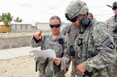 U.S. Army 1st Lt. Kourtney Weldon of New Britain, CT, a Task Force Iron Gray platoon leader, informs U.S. Army Maj. Gen. John Campbell, Combined Joint Task Force-101 commander, of his assigned vehicle upon his arrival at Forward Operating Base Mehtar Lam. (Photo by U.S. Air Force Staff Sgt. Ave I. Pele, Task Force Bastogne)