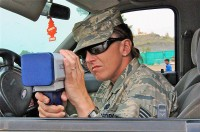U.S. Air Force Staff Sgt. Shannon N. Ratliff, a security forces patrolman and native of Tacoma, WA, assigned to the 655th Air Expeditionary Squadron, uses a radar gun to check speeds of passing vehicles during recent vehicle safety enforcement checkpoint operations on Forward Operating Base Salerno. (Photo by U.S. Army Sgt. Brent C. Powell, 3rd Brigade, 101st Airborne Division)