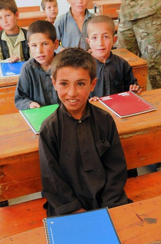 Kur Petab boys middle school students. (Photo by U.S. Air Force Tech. Sgt. Sean M. White, Panjshir Provincial Reconstruction Team)