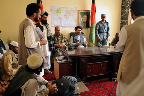 Khost Provincial Gov. Abdul Jabar Naeemi addresses concerns of Spera district citizens during a shura at the Spera District Center, Khost province, Afghanistan, July 25th. (U.S. Army Photo by Pfc. Chris McKenna, 3rd Brigade Combat Team)