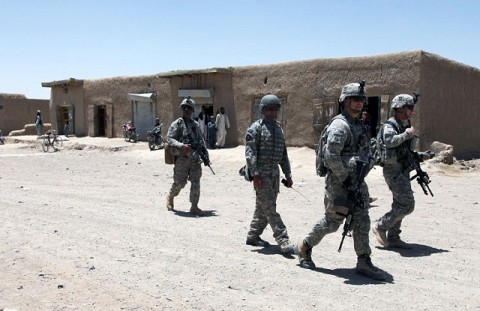 Soldiers from Company C, 3rd Battalion, 187th Infantry Regiment, 3rd Brigade, 101st Airborne Division, patrols through a bazaar area in the Waza Kwah District in Paktika Province. Recently, the Iron Rakkasans have been conducting patrols and searches in the Mata Khan District in an effort to cripple enemy activity in the area. (Photo by U.S. Army Sgt. Jeffrey Alexander, 982nd Combat Camera Company)