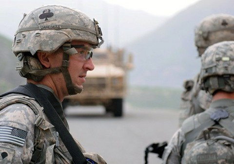 U.S. Army Spc. Nicholas J. Renfrow of Marina, CA, a medic with Company A, 2nd Battalion, 327th Infantry Regiment, Task Force No Slack, prepares to move into the village of Spinkay in eastern Afghanistan's Kunar province prior to his unit being attacked Aug. 18th. (Photo by U.S. Army Staff Sgt. Gary A. Witte, 300th Mobile Public Affairs Detachment)