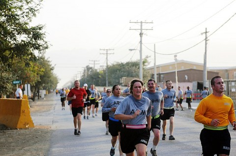 More than 600 people ran or walked in Bagram Airfield's Women's Equality Day five-kilometer run Aug. 26th. (Photo by U.S. Army Pfc. Roy Mercon, Task Force Wolverine Public Affairs)