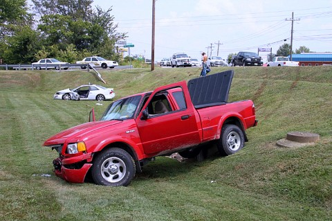 A two car accident on the 41-A Bypass resulted in the vehicles going down an embankment