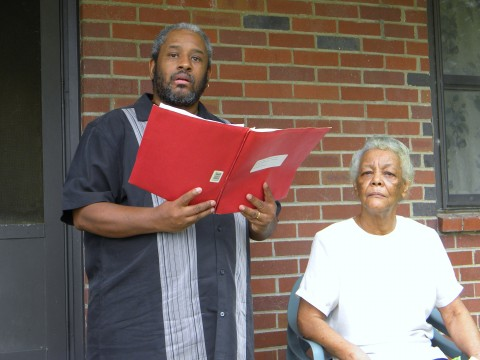 Tennessee Urban Resource Center Director Terry McMoore, and Mrs. Rosella Griffin a long term resident of Lincoln Homes.