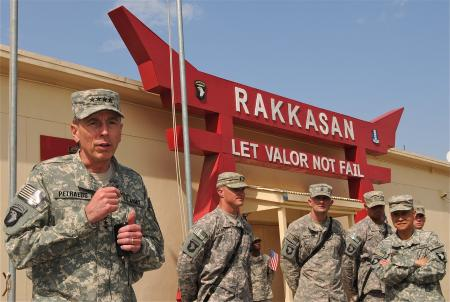 U.S. Army Gen. David H. Petraeus, commanding general of the International Security Assistance Force and commander of U.S. forces in Afghanistan, speaks to a crowd of soldiers during a short stop at Foward Operating Base Salerno Aug. 19th. During his visit, he met with Task Force Rakkasan Soldiers from the 3rd Brigade, 101st Airborne Division. ( Photo by Sgt. Brent Powell )