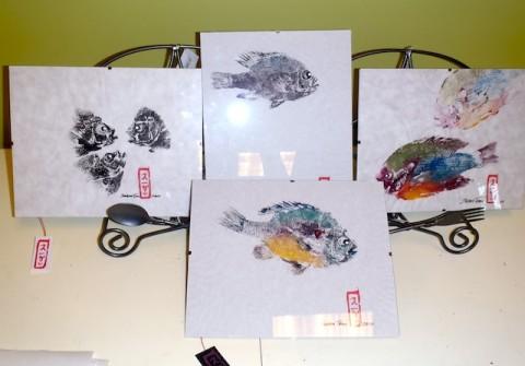 Gyotaku prints by Susan Tomi McGolrick