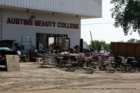 Austin's Beauty College during the cleanup after the May 2010 Flooding