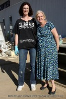 Linda Austin (right) with one of her flood cleanup volunteers