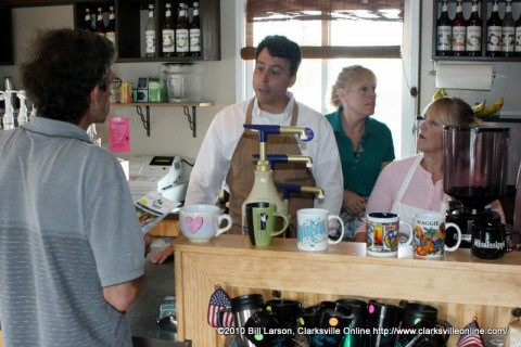 Greg Rabidoux serving coffee at Mag's Coffee on Riverside Drive.
