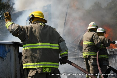 Montgomery County Volunteer Firefighters battle a blaze at 451 Salem Road on Sunday