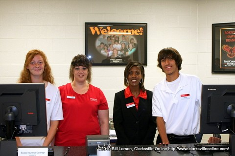 The staff of the Fort Campbell Federal Credit Union at Rossview High School on Wednesday