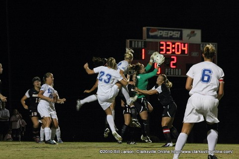 APSU's goalie catches the ball after a corner kick amid stiff opposition from Eastern Illinois
