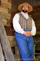 One of the reenactors telling a story