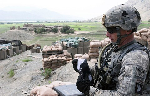 U.S. Army Sgt. 1st Class Timothy N. Easton, Task Force Bastogne, puts up his notes after examining the defenses of Combat Outpost Badel in eastern Afghanistan's Kunar Province Aug. 23rd. Easton's job involves examining Afghan bases, observation posts and checkpoints to find ways International Security Assistance Forces can help improve their protection. (Photo by U.S. Army Staff Sgt. Gary A. Witte, 300th Mobile Public Affairs Detachment)