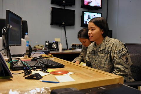 U.S. Army Spc. Jessica A. Walker, of Anoka, MN, noncommissioned officer in charge of psychological operations, assigned to the 319th Tactical Psychological Operations Company, Task Force Bastogne, participates in an online chat session with a teenage female Afghan student in the city of Jalalabad in eastern Afghanistan's Nangarhar Province Sept. 21st.(Photo by U.S. Army Sgt. Albert L. Kelley, 300th Mobile Public Affairs Detachment)