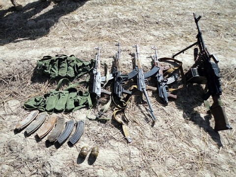 Numerous weapons and ammunition were captured by Task Force Iron Rakkasan Soldiers during a morning patrol Sept. 27th in Deh Yak District, Ghazni Province, Afghanistan. Working with two AH-64 Apache helicopters from TF Brawler, TF Iron Soldiers were able to engage and kill three armed insurgents, one of which was on a motorcycle and tried to flee. (U.S. Army courtesy photo)