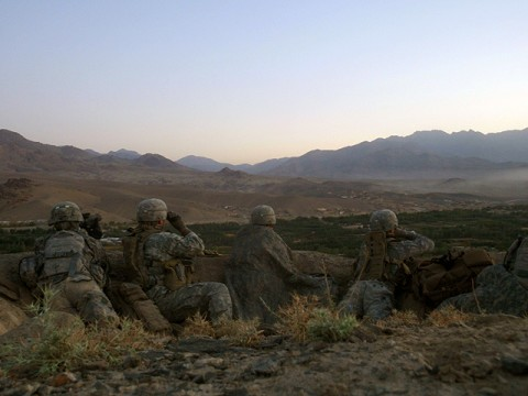 Paratroopers of Attack Company, 1st Battalion, 503rd Infantry Regiment, 173rd Airborne Brigade Combat Team, provide overwatch from a fighting position overlooking Chak Valley, Wardak Province during Operation Talon Purge Sept. 24th. (U.S. Army courtesy photo)