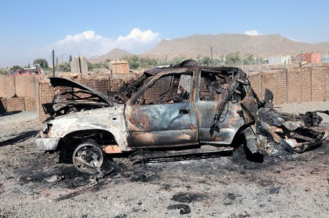 A vehicle used in a failed insurgent attack sits on the road outside Forward Operating Base Gardez, Paktya Province, Afghanistan, Sept. 24th. Forces engaged the vehicle as it approached the base, killing the driver and destroying the vehicle. Afghan National Security Forces and coalition forces defeated a complex attack, killing at least five insurgents and capturing one. (U.S. Army courtesy photo released)